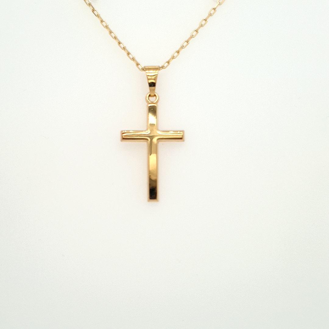 9ct Yellow Gold Plain Cross on Chain 10290