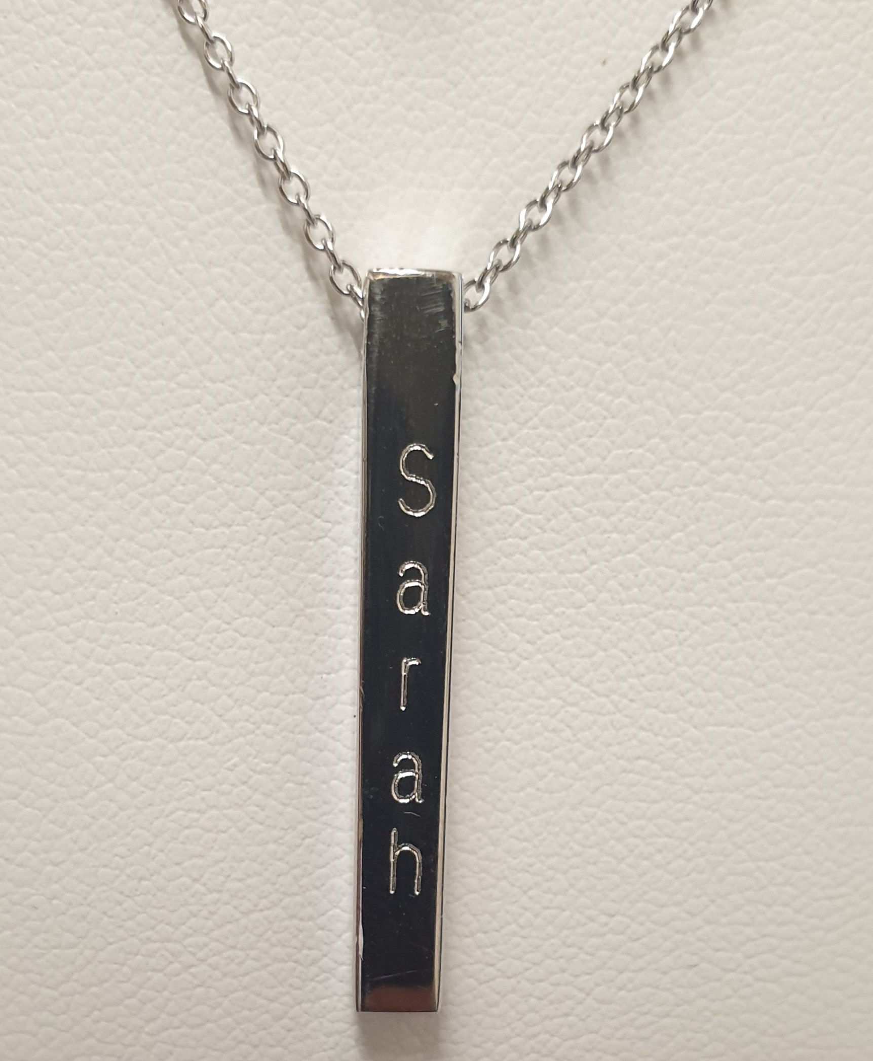 Personalised Sterling Silver Name Bar Pendant (1-2 Sides)