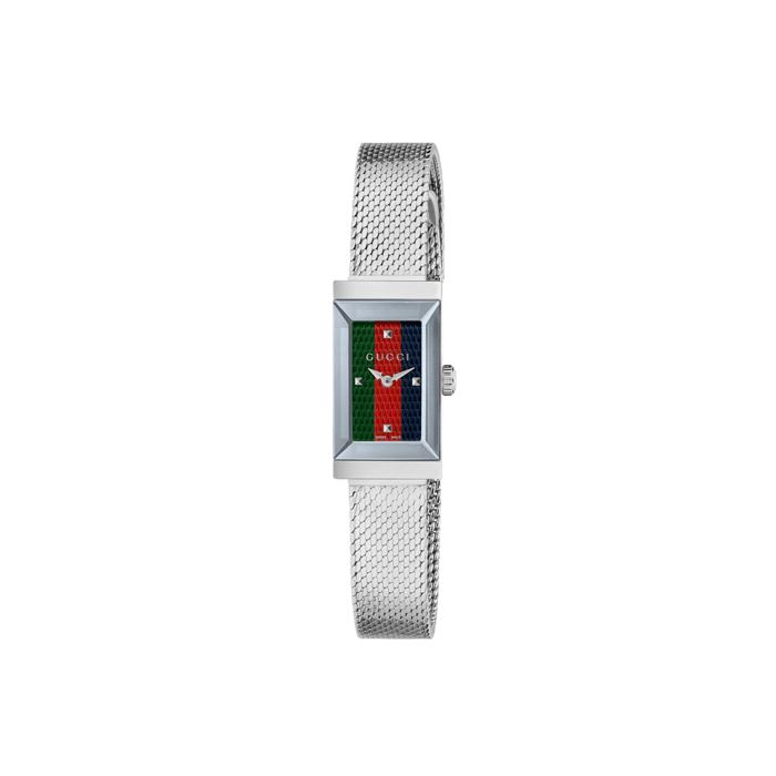 2bd8f9628fa Gucci Ladies Green Red Blue Mesh Bracelet G Frame Watch